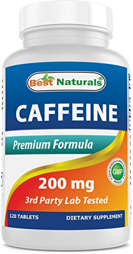 Best Naturals Caffeine Pills 200mg 120 Tablets - Non Habit - Proven No Crash or Jitters