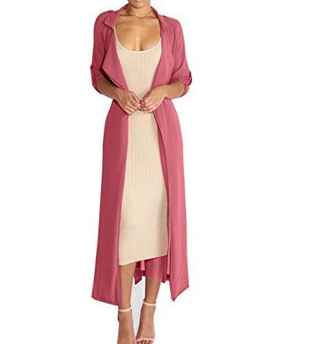 Dreamsoar Womens Long Sleeve Fashion Chiffon Lightweight Maxi Sheer Duster Cardigans PK Pink