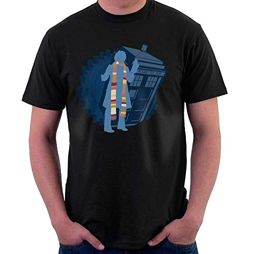 4th Doctor Who Silhouette Tom Baker Tardis Men's T-Shirt