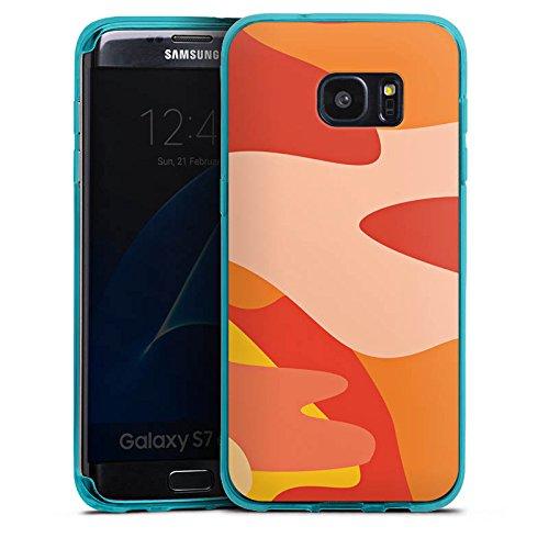 DeinDesign Silikon Hülle transparent hellblau kompatibel mit Samsung Galaxy S7 Edge Case Schutzhülle Camouflage Bundeswehr Orange