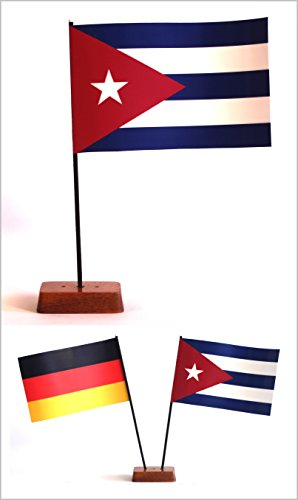 Buddel-Bini Tischflagge Kuba Cuba und Deutschland 90x140 mm mit Ständer aus Holz, Gesamthöhe ca. 20 cm Tisch Flagge Fahne