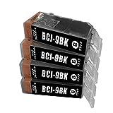 キヤノン BCI-9BK 互換インク ブラック 4個セット Canon BCI9 ICチップ付 1年保証付 プリンター保証付