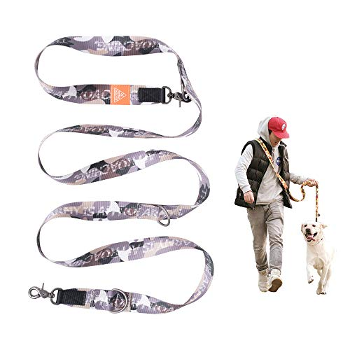 "JC HOUSE Heavy Duty Dog Leash Hands Free, Navigator Series 6 Ways Dog Lead, Extra 1.3"" Wide 47""-98"" Long for Small, Medium and Large Dog (Camo Painter Gray)"