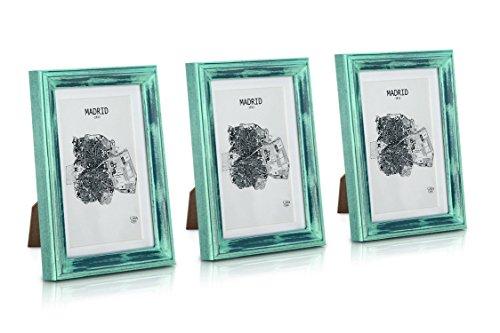 Paquete de 3 Marcos de Fotos Vintage de 13 x 18 cm con Paspartú para Foto de 10 x 15 cm - Shabby Chic Originales - Frente de Vidrio - Turquesa y Plata