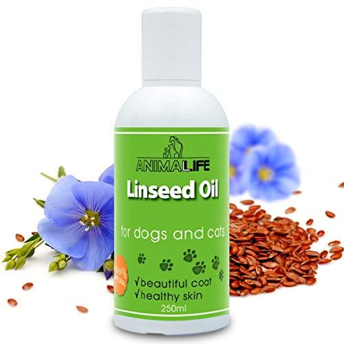 Aceite de Linaza para Perros & Gatos 250ml - 100% Natural Complemento para Mascotas - Cuidado Piel & Pelo - Rico en Vitaminas, Minerales y Ácidos Grasos Omega 3 6 9 - Flaxseed Oil for Pets