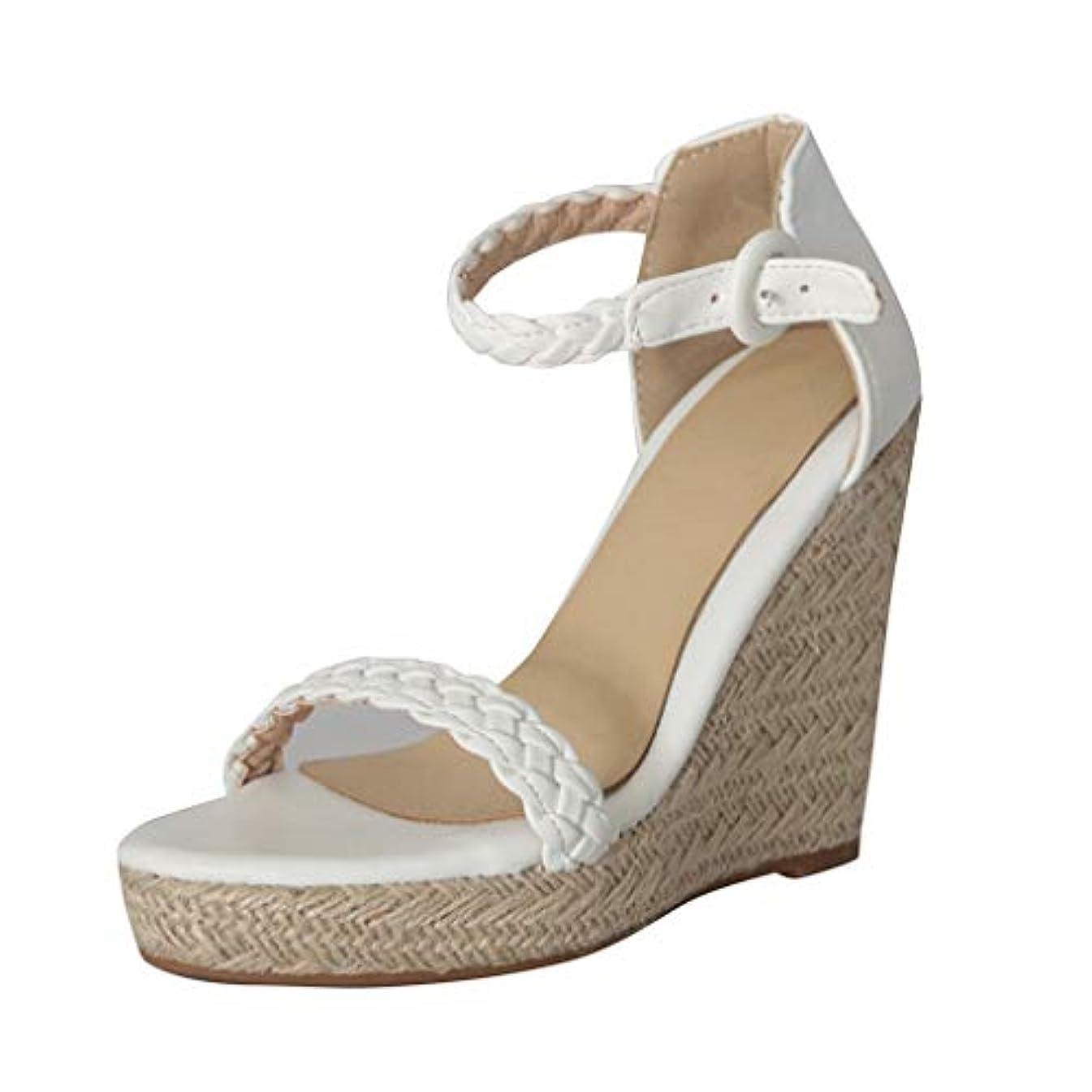 2019 New Womens Retro Open Toe Ankle Espadrilles Wedge Flats Shoe Buckle-Strap Roman Sandals White, Gold Size: 35-43