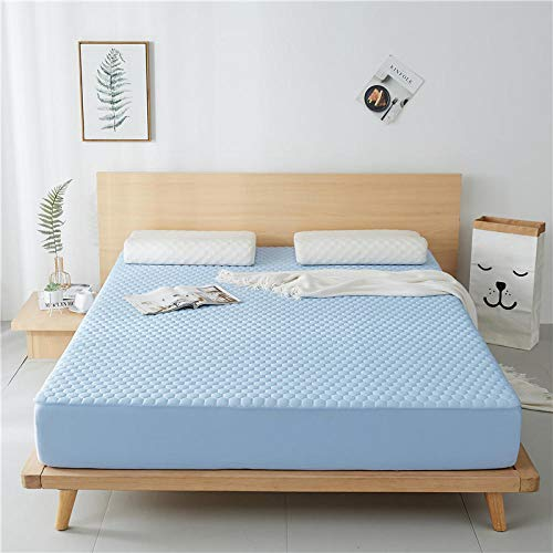 JRDTYS Microfibre Flat Sheet - No-Iron Bed Sheet is Breathable,SoftOne-piece washable ice silk protective cover-A pair of sky blue + pillowcase_150*200cm