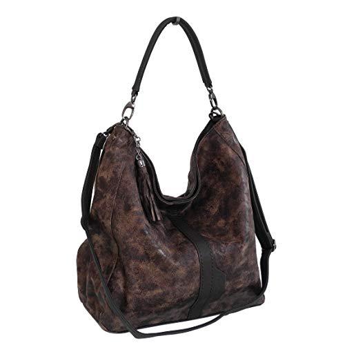 Jennifer Jones XL ruime handtas schoudertas schoudertas shopperbag - gepresenteerd door ZMOKA (bruin antiek)