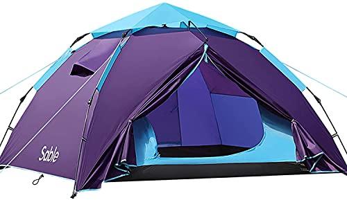 セーブル(Sable)テント 数秒設営 ワンタッチ キャンプテント 3-4人 二重層 防風防水 耐水圧3000mm 通気性 コンパクト 折りたたみ 収納バッグ付き