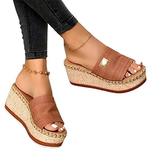 Damen Sandalen, Casual Damen Sommer Wedge Peep Toe High Heel Plattform Pantoletten Anti-Rutsch-Sandalen Braun 38