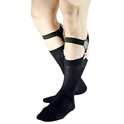 iEFiEL 1Paar Einstellbar Sockenhalter Herren Strumpfhalter Clips Strumpfbänder Socken Strumpf Garter Einstellbar Schwarz One Size