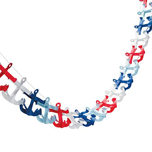 Fun Express - Nautical Anchor Garland for Birthday - Party Decor - Hanging Decor - Garland - Birthday - 1 Piece