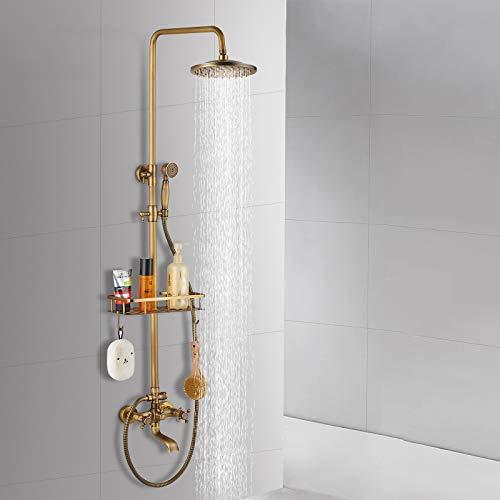 Suguword Sistema de ducha de latón antiguo, altura regulable, con alcachofa de mano, ducha de lluvia, caño de bañera y estante de almacenamiento, incluye manguera de ducha de 150 cm