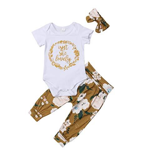 Isnt She Lovely 0-18M Infant Newborn Baby Girl Short Sleeve Bodysuit Tops Floral Pant Headband