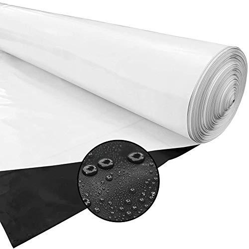 GDMING Flexible Teichfolie, Sonnenschutz Silofolie, Abdeckfolie, Pannensicher Anti-Versickerung PVC Schwarz Und Weiß Membran, Zum Fischteich Gewächshaus, 60 Größen (Color : Black, Size : 2x20m)