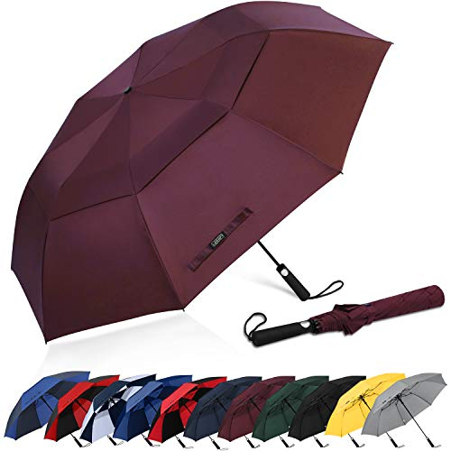 G4Free 62 Inch Portable Golf Umbrella Large Oversize Double Canopy Vented Windproof Waterproof Automatic Open Stick Umbrellas for Men and Women(Wine Red)