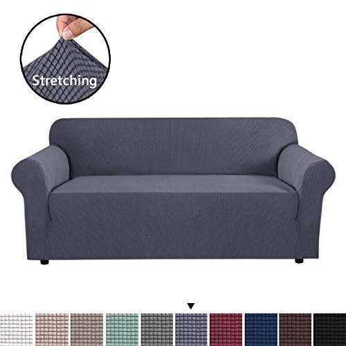 BellaHills Sofabezug Stretch Sofa Schonbezug - Spandex Sofabezug Sofabezug, Waschbarer Möbelschutz mit elastischem Boden für Kinder, Haustier (3-Sitzer, grau)