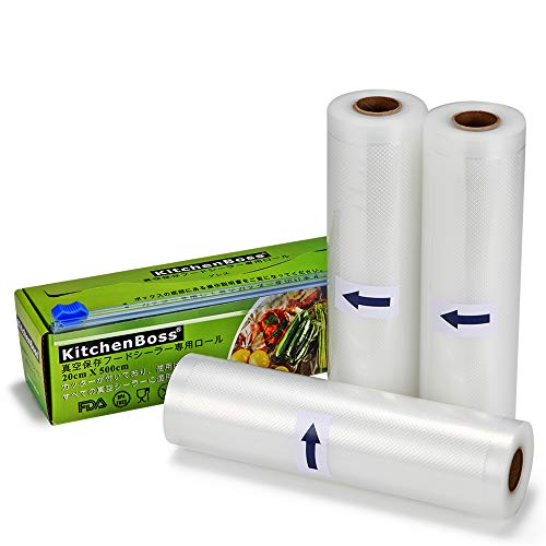 KitchenBoss 真空ロール 真空パック袋 20*500cm 3本 カットボックス付き 真空パック機 真空パックん 替えロール 真空包装 シーラー袋 鮮度長持ち BPAフリー PE+PA安全素材 真空ビニール 食品保存 低温調理 家庭用 業務用