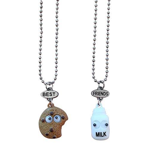 Gwill 2 unids/set de galletas y leche mejor brotes colgante cadena collar mejor amigo mini joyería de alimentos miniatura
