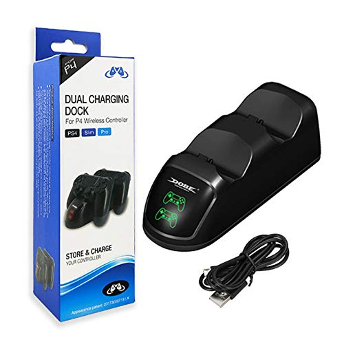 Dacitiery Cargador LED con asa para PS4, Gamepad con Panel táctil con función de Audio y vibración Dual, Conector para Auriculares estéreo y Altavoz, Control de Movimiento con Panel táctil