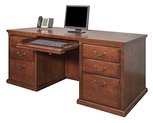 Martin Furniture Huntington Oxford 68' Double Pedestal Executive Computer Desk, Burnish Finish, Fully Assembled