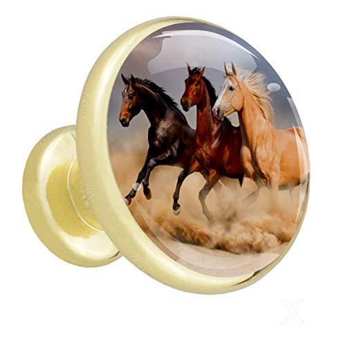 Perilla de gabinete Perillas de puerta Manija de extracción en forma de hongo con tornillos para gabinete Armario Cajón Armario 4 piezas Dorado Caballo de tierra corriendo 3.2×3.0cm