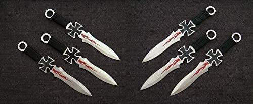 KOSxBO® 6X Wurfmesser Eiseners Kreuz Darts Wurfmesserset HELL Knife Edition Darts Messer 17,5cm inklusive 2 Taschenmesser - Gürtelmesser - Messer mit Scheide