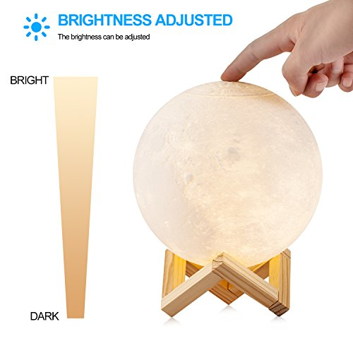 """Extra Large 7.1""""/18cm Gahaya Moon Lamp, 3D Printed Light, Touch Control, Stepless Dimmable, Warm White & Cool White, PLA material, USB Recharge"""