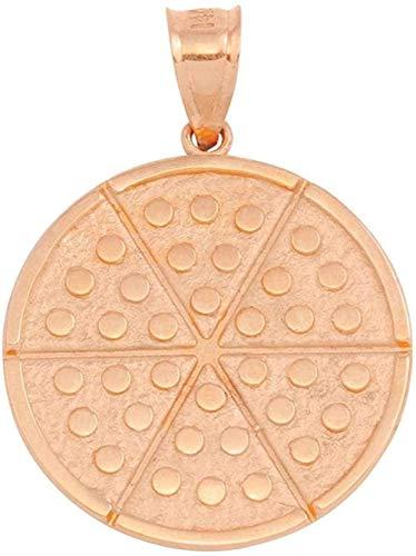 NC122 Collar con Colgante Colgante de círculo de Pizza de Seis rebanadas de Oro Rosa de 9 Quilates