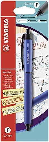 Penna Roller a Scatto - STABILO PALETTE in Blu - Tratto F (0,4 mm) - Single Pack - inchiostro colore Blu