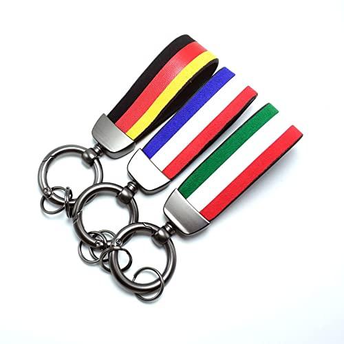 """PT Decals 1 Stück gewebter Gürtelriemen Auto Auto Schlüsselring Schlüsselbund Italien Flagge IT Italienische Farbe 4,72 \""""x 0,98\"""""""