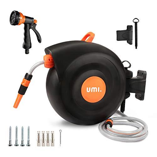 Umi. by Amazon- Schlauchtrommel,25+2m Schlauchaufroller,Roll-up Automatic,180°Schwenkbar,Kurze Arretierstops,Wandhalterung,Gartenschlauch