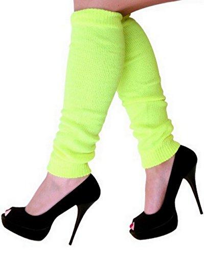 krautwear Damen Beinwärmer Stulpen Legwarmers Overknees gestrickte Strümpfe 80er Jahre 1980er Jahre, 1xgelb, Einheitsgröße