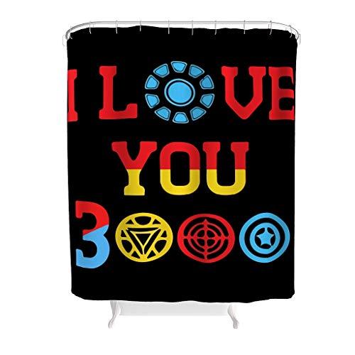 I Love You 3000 - Cortinas de ducha antimoho y antibacterianas, tela 100% poliéster, lavable, duradera, de secado rápido, con 12 ganchos para proteger la privacidad, color blanco