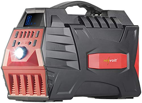 reVolt Powerbank Camping 230V: Powerbank & Solar-Konverter, 80 Ah, 288 Wh, 230 V, 12 V, USB, 500 W (Powerbank 230 Volt)