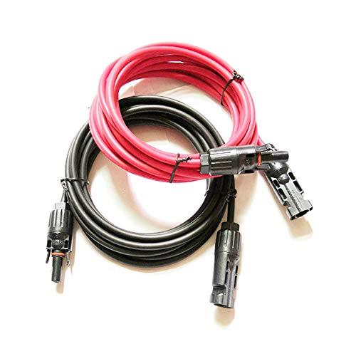 Ficocean Cable de Extensión del Solar con Conectores Macho Hembra, 14 AWG /12 AWG /10 AWG Cable Adaptador PV Fotovoltaicos Rojo Negro para Paneles solares y Sistemas de energía Solar (10 AWG, 3M)