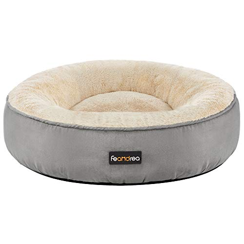 FEANDREA Dog Bed, Donut Cat Bed, Washable Pet Sofa, Anti-Slip, Round, 19.7 Inches Dia., Light Gray UPGW050G01