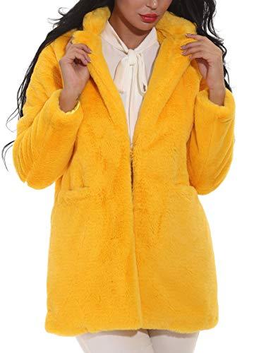 Hishoes Mujer Abrigo de Piel sintética Elegante Abrigos Chaquetas de Pelo Sintético de Manga Larga Cárdigan Outwear Invierno