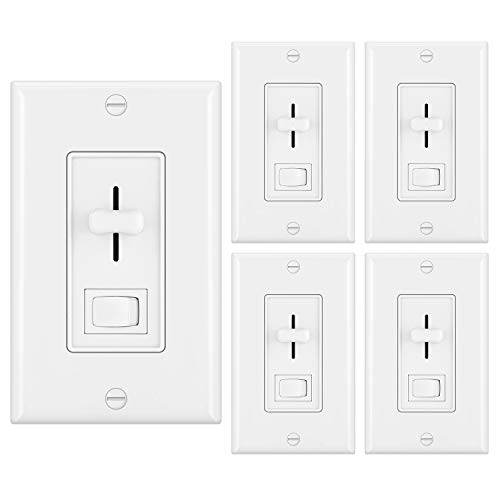 [5 Pack] BESTTEN Dimmer Light Switch for Dimmable LED, Halogen and Incandescent Bulbs, Single-Pole or 3-Way, Vertical Slider, On/Off Rocker Switch, UL Listed, White