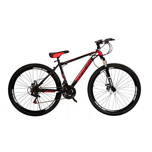 DOMDIL Mountain Bike da Strada 27,5 Pollici, MTB per Adulti, Bicicletta Hardtail con Sedile Regolabile, Nero&Rosso, Ruota a Raggi, 21-Stage Shift