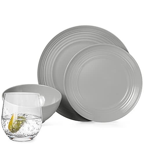 Juego de vajilla antideslizante de melamina para camping, color gris, para 4 personas, 16 piezas + 4 vasos Tiamo, vasos de agua, vajilla de picnic, barbacoa