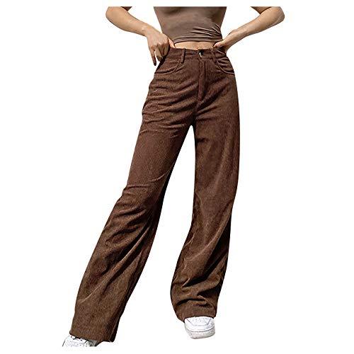 Hosen Frauen solide mittel taillierte Hose mit weitem Bein gerade lässige Baggy-Hose (S,Braun)