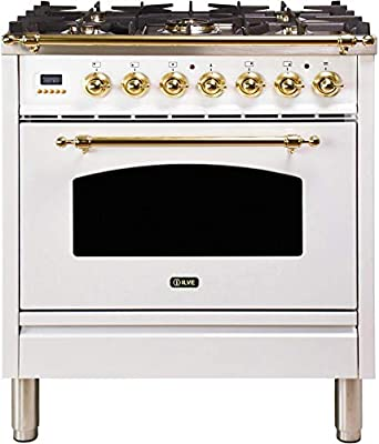 Ilve UPN76DMPB Nostalgie Series 30 Inch Dual Fuel Convection Freestanding Range, 5 Sealed Brass Burners, 3 cu.ft. Total Oven Capacity in White, Brass Trim (Natural Gas)