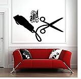 Fenster Aufkleber Friseur Haar Werkzeuge Schere Friseur Schönheitssalon Friseur Logo Dekoration 57X36Cm Zkpyy