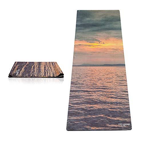 Yoga Design Lab Reise Yogamatte 1mm | Extrem leicht, Dünn, Faltbar, rutschfest, Waschbar | Guter Halt bei schweißtreibendem Sport | mit Tragegurt (Sunset-)