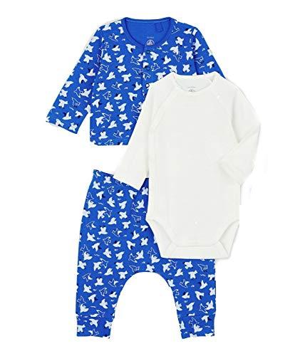 Petit Bateau Baby Boy - Conjunto de 3 piezas de algodón orgánico, cuerpo de manga larga, estampado de pájaros y pantalones - - 12 meses