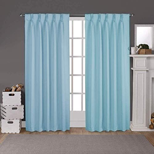 100% Polyester Double Pinch Pleated Blackout Window Curtain Panels & Drapes and Thermal Insulation for Bedroom Living Room (Sky Blue Solid, 52 Inch by 72 Inch- 2 Panel)