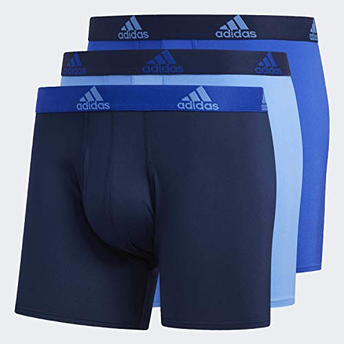 adidas Men's Performance Boxer Briefs Underwear (3-pack), Real Blue/Collegiate Navy | Bold Blue/Collegiate Navy | Collegiate Navy/Bold Blue, Large