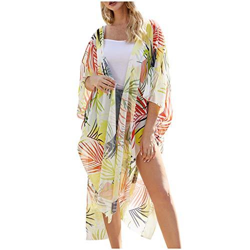 Cardith Damen Flowy Kimono-StrickjackeFront öffnen Chiffon Blätter drucken Bluse losen Mantel Outwear Kurz Coat Herbst Frühling