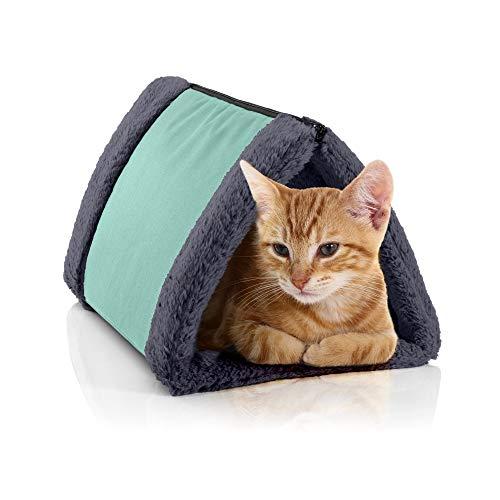 BedDog® Katzentunnel 3in1 Luna, Katzenhöhle, Katzenmatte aus Cordura und Microfaser-Velours, waschbare Katzendecke zweiseitig, Unterlage für Haustiere, Farbe Mint-Rock (Mint/grau)